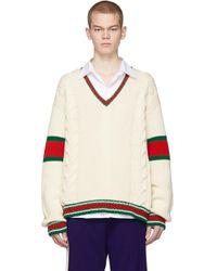 メンズ Gucci オフホワイト ケーブル V ネック セーター White