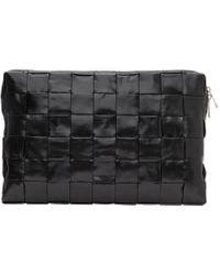 メンズ Bottega Veneta ブラック Intrecciato ドキュメント ポーチ Black