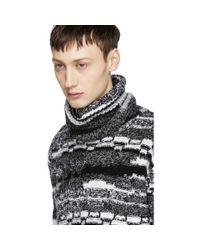 Saint Laurent Black And White Wide Neck Turtleneck for men