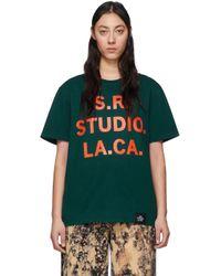 S.R. STUDIO. LA. CA. グリーン & オレンジ Vampire Sunrise T シャツ Green