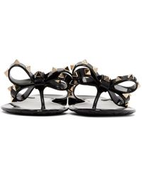Valentino Orange Rockstud Thong Sandals