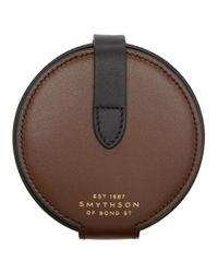 メンズ Smythson ブラウン サークル コイン パース Brown