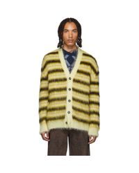 Marni Yellow And Black Striped Mohair Cardigan for men
