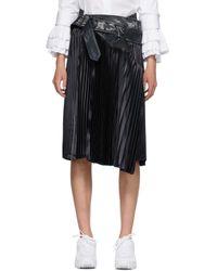 Junya Watanabe ブラック プリーツ トレンチ スカート Black
