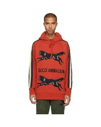 Gucci - Red Animalium Double Wolves Hoodie for Men - Lyst