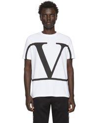 メンズ Valentino ホワイト Vロゴ T シャツ White