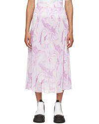Ganni ホワイト & パープル プリーツ スカート Purple