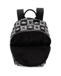 メンズ Dolce & Gabbana ブラック チェッカー Dg クラウン バックパック Black