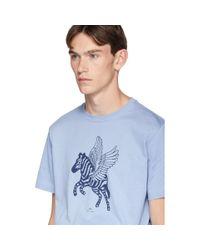 メンズ PS by Paul Smith ブルー Pegasus T シャツ Blue