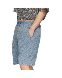 メンズ Isabel Marant ブルー キルティング デニム ショーツ Blue
