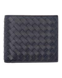 Bottega Veneta - Blue Navy Intrecciato Wallet for Men - Lyst