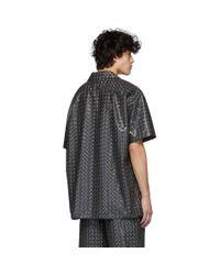 メンズ Doublet グレー ホログラム コーティング シャツ Black