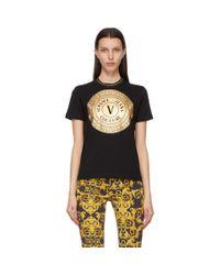 Versace Jeans ブラック And ゴールド V Emblem T シャツ Black