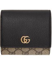 Gucci ベージュ& ブラック スモール GG Supreme Marmont フラップ ウォレット Black