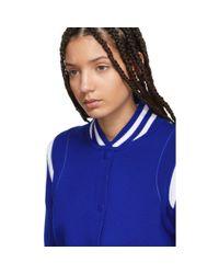 Givenchy - Blue Knit Logo Bomber Jacket - Lyst