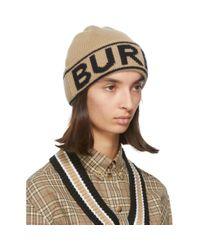 Burberry ベージュ カシミア ロゴ ビーニー Multicolor
