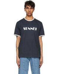 メンズ Sunnei ブルー & ホワイト ロゴ T シャツ Blue