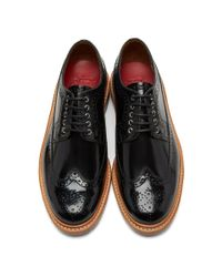 GRENSON Black Patent Sid Brogues for men