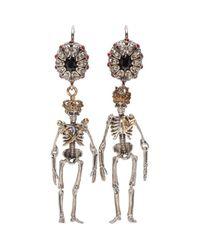 Alexander McQueen - Metallic Jewelled Skeleton Earrings - Lyst