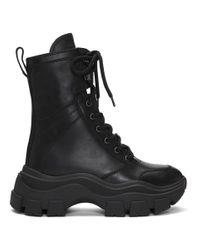 Prada ブラック レザー ミッドカーフ ブーツ Black