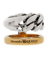 Bague a chaine argentee et doree Stacked Alexander McQueen en coloris Metallic