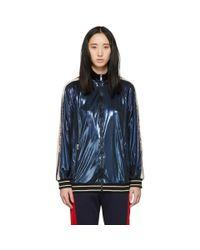 Gucci ブルー ラメ ロゴ トラック ジャケット Blue