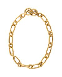 Fendi Metallic Gold F Is Chain Necklace