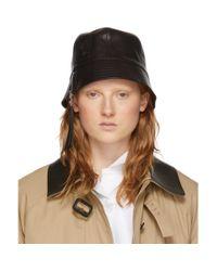 Loewe Black Leather Bucket Hat
