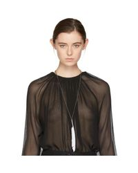 Ann Demeulemeester | Metallic Silver & White Feather Necklace | Lyst