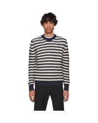 メンズ Prada オフホワイト And ネイビー アルパカ ストライプ セーター Multicolor