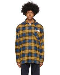 メンズ Acne イエロー & ブルー フランネル ロゴ パッチ シャツ Multicolor
