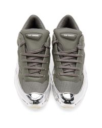 Raf Simons Adidas Originals Edition グレー And シルバー Ozweego スニーカー Gray