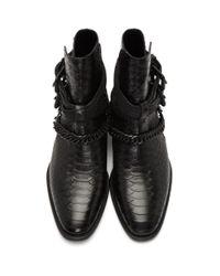 メンズ Amiri ブラック バックル チェーン ブーツ Black