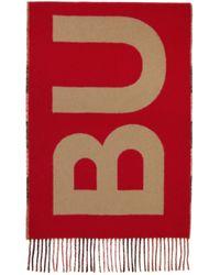 メンズ Burberry ベージュ & レッド カシミア チェック ロゴ マフラー Red