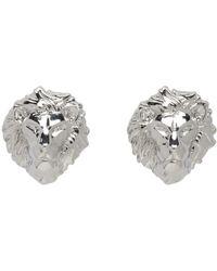Versus  - Metallic Silver Lion Head Earrings - Lyst