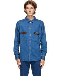 メンズ Gucci ブルー デニム ストーン ウォッシュ ウェブ シャツ Blue
