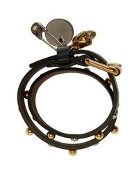 Alexander McQueen | Black Studded Safety Pin Double Wrap Bracelet | Lyst