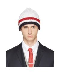 Thom Browne - White & Tricolor Merino Aran Cable Beanie for Men - Lyst