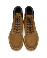 Gucci - Brown Tan Suede Boots for Men - Lyst