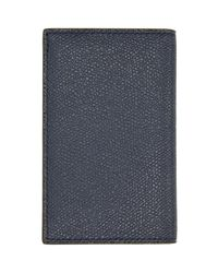 Valextra Blue Navy Business Card Holder for men