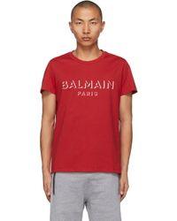 メンズ Balmain レッド 3d ロゴ T シャツ Red