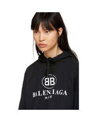 Balenciaga - Black Open Back Bb Mode Logo Hoodie - Lyst