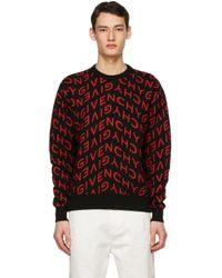 メンズ Givenchy ブラック & レッド Refracted セーター Red