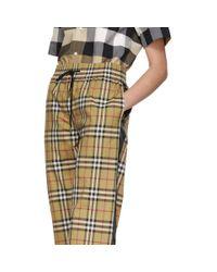 Burberry ベージュ And ブラック ビンテージ チェック ドローコード ラウンジ パンツ Multicolor