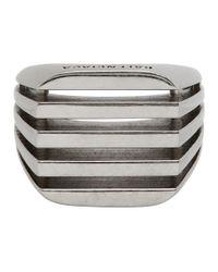 メンズ Balenciaga シルバー ボーン リング Metallic