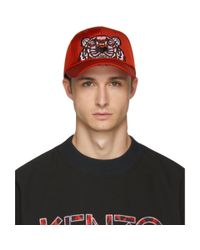 KENZO Red Canvas Tiger Cap for men