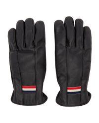 Gants en cuir noirs Guanti Moncler pour homme en coloris Black