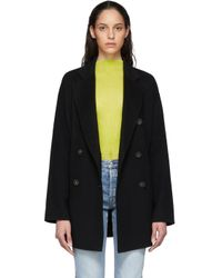 Acne ブラック ウール ダブルブレスト コート Black