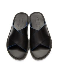 Burberry - Black Leather Sandals for Men - Lyst