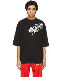 メンズ Palm Angels ブラック Daisy ロゴ T シャツ Black